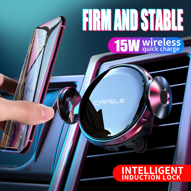 15W Wireless Charger  Car  fast Charge for Iphone 11 samsung Huawei Automatic Clamping Intelligent Infrared Qi Phone Holder