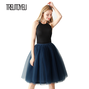 Image 1 - Streetwear 5 couches 65 cm Midi jupe plissée femmes gothique taille haute Tulle jupe patineuse rokjes dames ropa mujer 2019 jupe femme