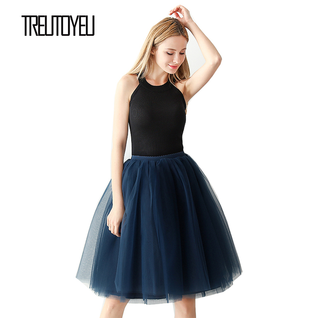 Streetwear 5 couches 65 cm Midi jupe plissée femmes gothique taille haute Tulle jupe patineuse rokjes dames ropa mujer 2019 jupe femme