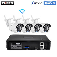 FUERS 4Ch NVR WIFI Video Surveillance System CCTV Camera Security System Kit 720P IR CUT Outdoor IP Camera CCTV WIFI System