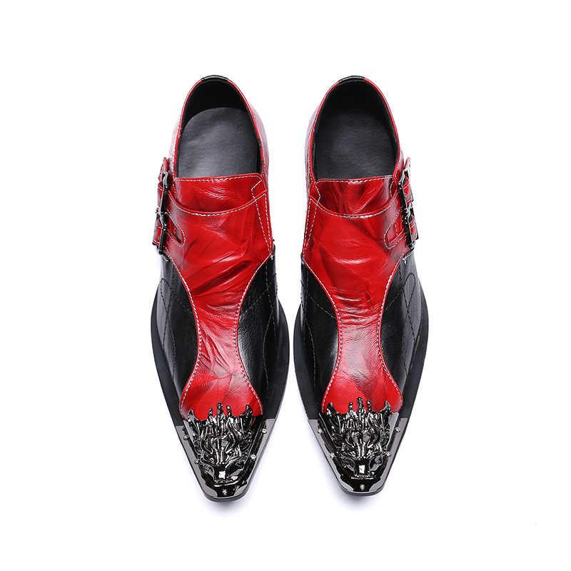 Erkek moda kırmızı çift toka parti ayakkabıları kayma konfor hakiki deri pointet ayak resmi elbise altın ayak oxford