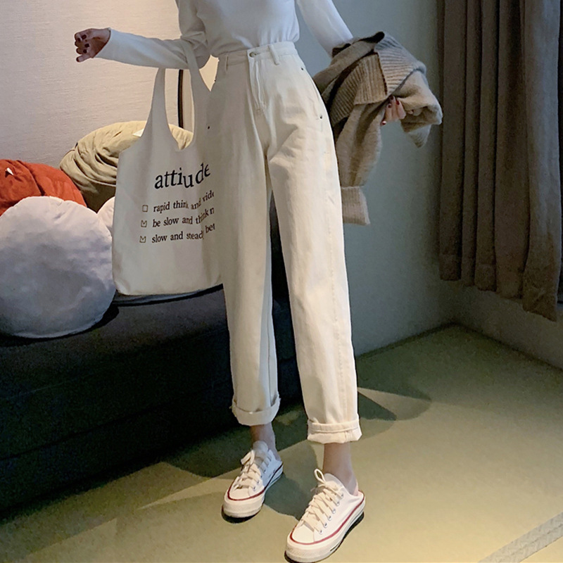 Autumn 2019 New Korean Version High Waist Slim All Around Loose Pants Straight Tube Wide Leg White Jeans Schoolgirl