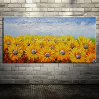 Arthyx Hand Painted Knife Landscape Sunflower Oil Painting On Canva Modern Abstract Decorative Artists Wall Paintings Home Decor