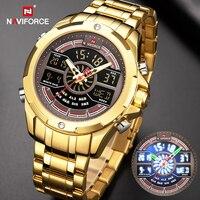 NAVIFORCE-Reloj de pulsera de cuarzo deportivo para hombre, cronógrafo Digital de lujo, de acero inoxidable, resistente al agua, con alarma, color dorado