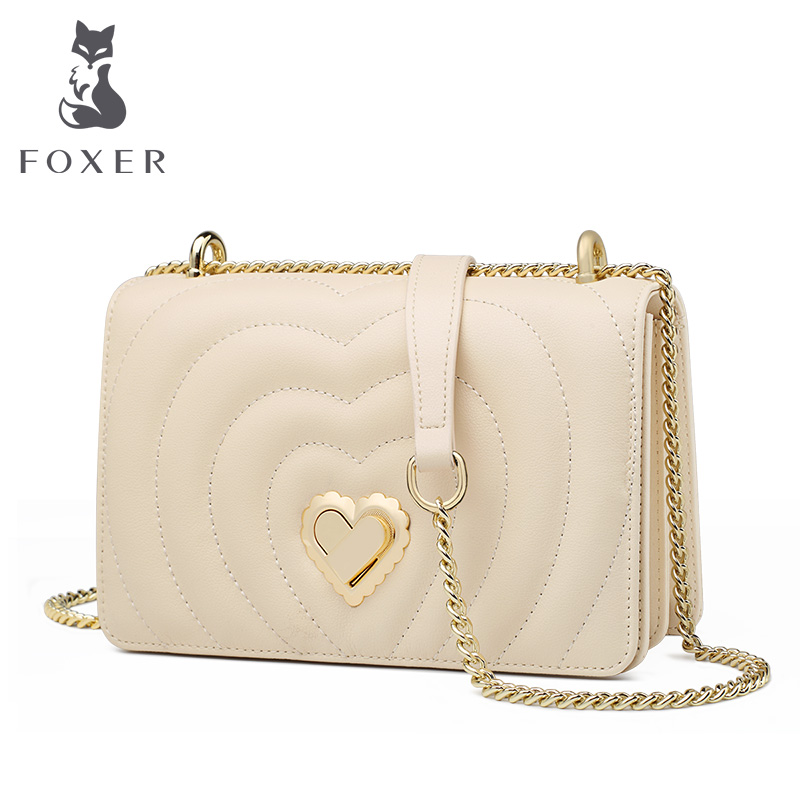 FOXER Brand Chic Female Valentine's Day Present Skin Messenger Bags Elegant Lady Love Flap Bag INS Fashion Women Crossbody Bag