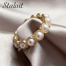 Один размер 7 жемчужных колец для женщин минималистичное кольцо