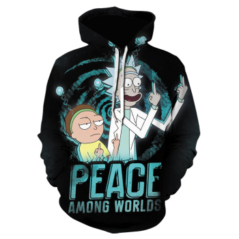 Fashion brand Hip Hop Men Hoodies casual Rick hooded Funny 3D printing black Hoodies Sweatshirt Male anime winter Jackets 2