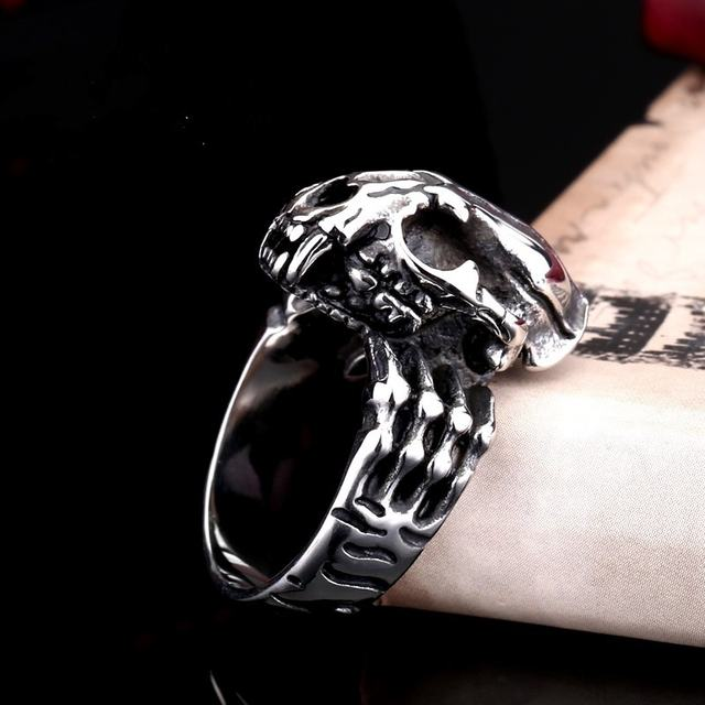 PREHISTORIC SWORD TOOTHED TIGER SKULL RINGS