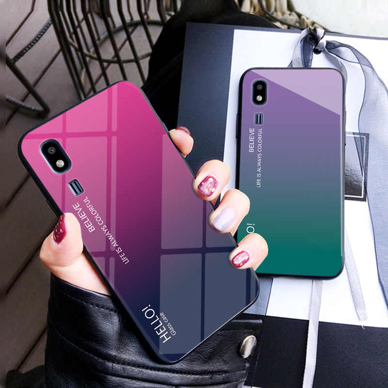 Gradien Glossy Anti Gores Phone Case Belakang untuk Samsung Galaxy A8 J2 Pro 2018 S7 Edge S8 S9 Plus Catatan 8 9 Soft Case Silikon