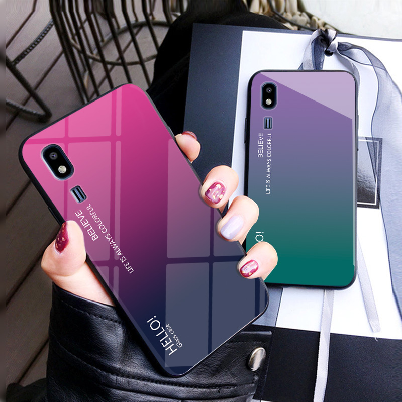 Gradient Glossy Tempered Glass <font><b>Phone</b></font> Back <font><b>Case</b></font> For <font><b>Samsung</b></font> Galaxy A8 J2 Pro 2018 <font><b>S7</b></font> Edge S8 S9 Plus Note 8 9 Soft Silicone <font><b>Case</b></font> image