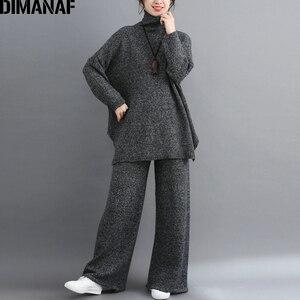 Image 2 - DIMANAF בתוספת גודל נשים סטי חורף בציר סריגה חליפת גדול גודל ליידי חולצות Loose ארוך מכנסיים סוודר גולף נשי בגדים