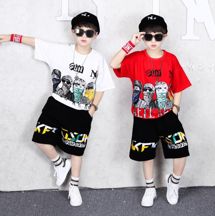 Boys Clothing Sets Children Cartoon phoenix T-shirt Short Sleeve +Pants Set Two Pieces Set Kids Boys Clothes 6 8 10 14 Years Old