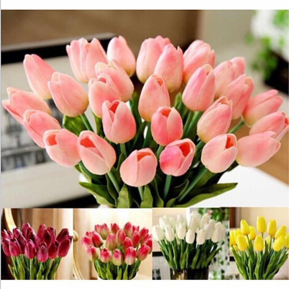 2019 10 Pcs Tulip Buatan Bunga Lateks Real Touch Bridal Pernikahan Bouquet Home Kecantikan Dekorasi Teman Cinta Hadiah Matrimonio Fiore