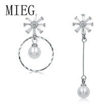MIEG Brand Cubic Zirconia CZ Crystal Flower and Circle Drop Earrings for Women in Rhodium Silver Color Plated promotion 2016 new earrings water drop shape with big cz rhodium plated women earrings