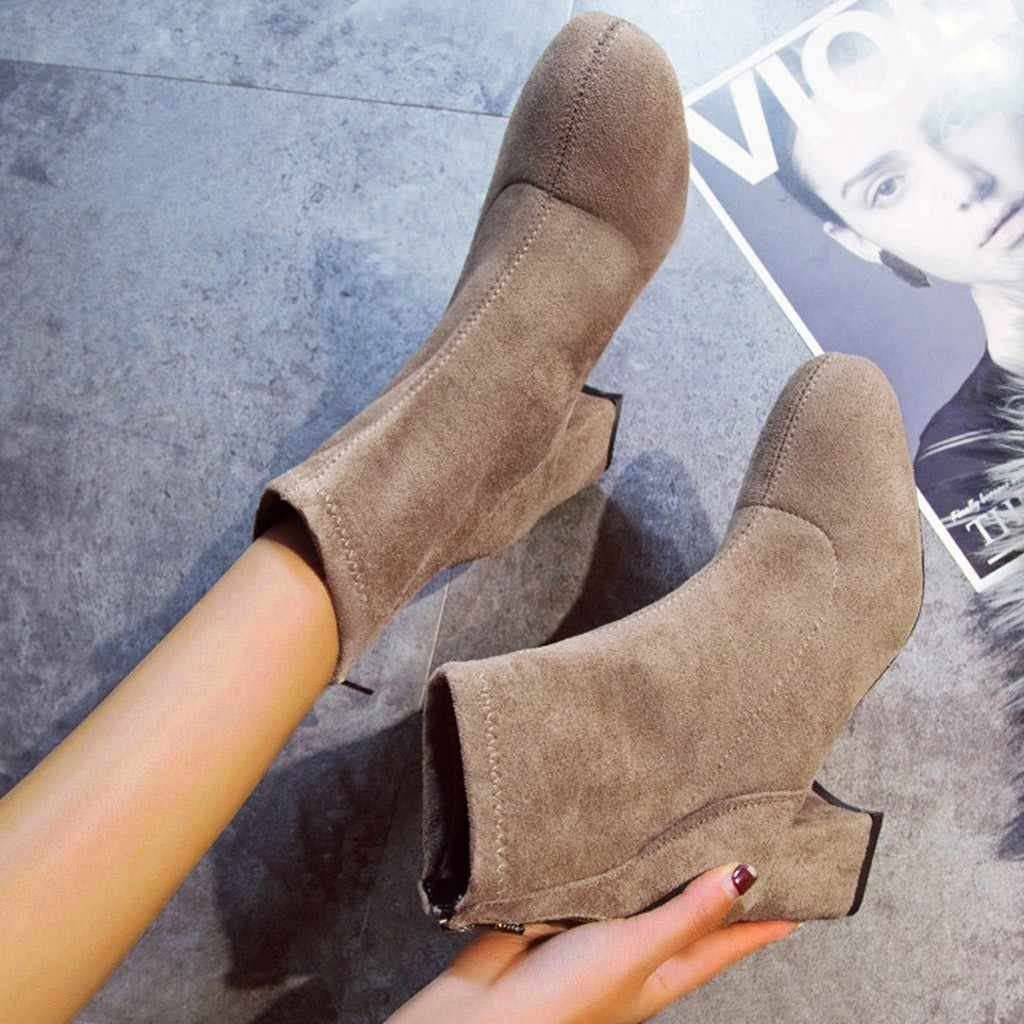 Kristall Padent frauen Stiefel Mode Herbst Winter Sexy Runde Kappe Einfarbig Hohe Hoof Heels Stiefeletten Botines Mujer 2019