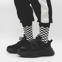 Корейские носки в стиле Харадзюку, черные и белые носки без пятки с рисунком шахматной доски, пара новых носков, носки для мужчин и женщин