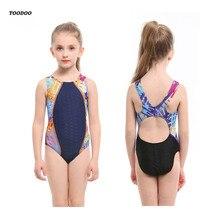 Профессиональный Цельный купальный костюм с шаговым швом для девочек, детский купальный костюм, Высококачественная эластичная ткань