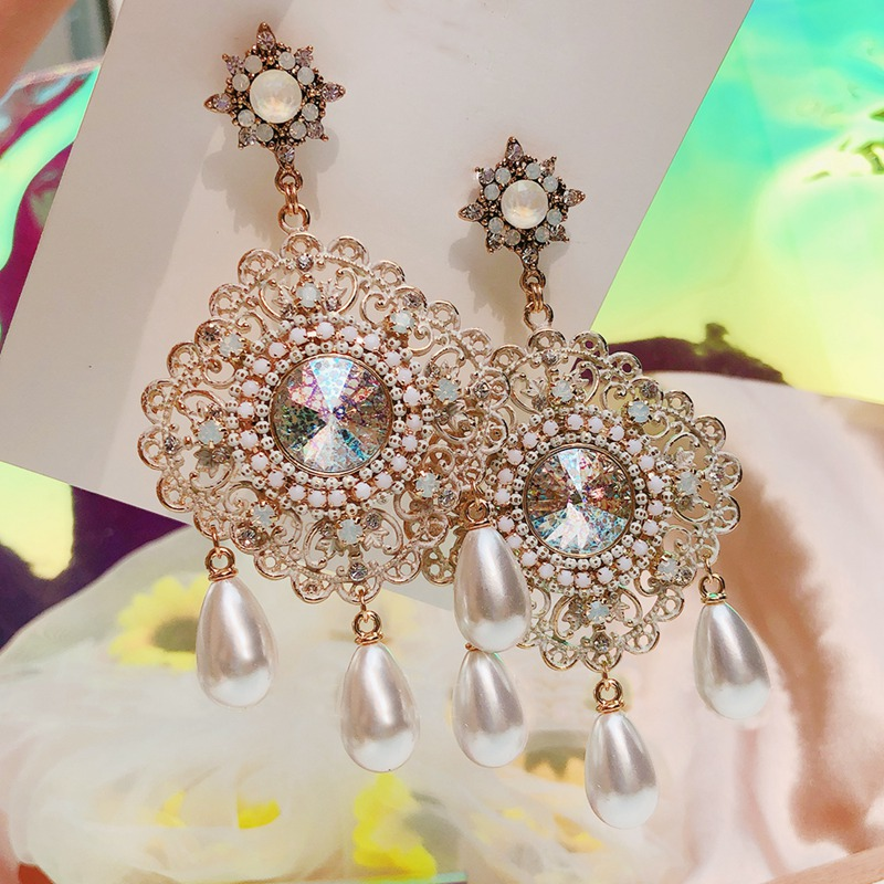 MENGJIQIAO New Vintage Luxury Exaggerated Square Crystal Drop Earrings For Women Girls Elegant Pearl Pendientes Jewelry Gifts