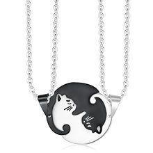 Couple Necklace Black White Puzzle Cat Pendant Animal Women Men Necklaces Chain Link 20Inch Lovers Valentine's Day(China)