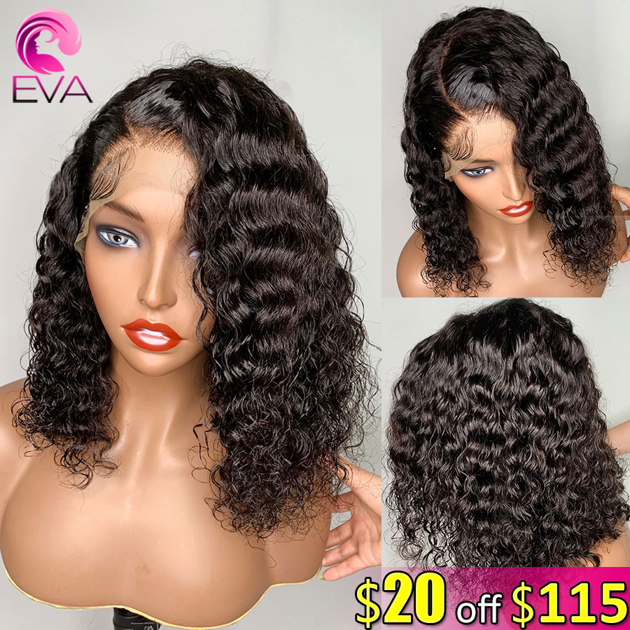 Eva Hair 150% Full Lace Human Hair Wigs Pre Plucked With Baby Hair Brazilian Short Bob Curly Remy Hair Wigs For Black Women