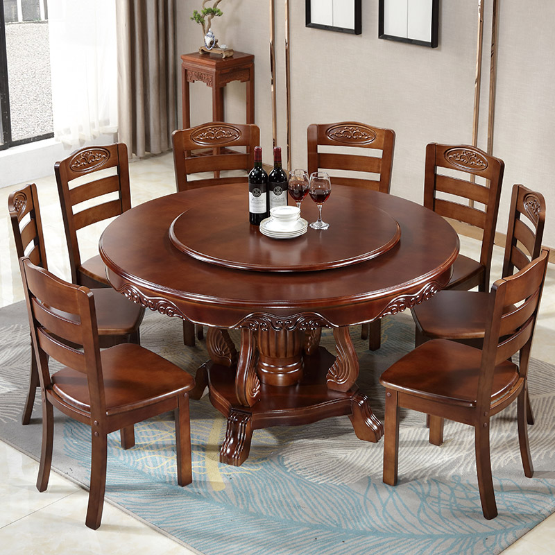Solid Wood Dining Table With Turntable Round Dining Table Chinese Style Large Round Table Dining Table And Chair Combination Dining Tables Aliexpress
