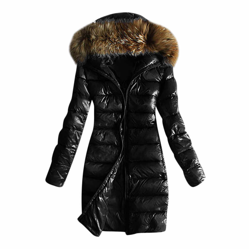 Winter Women Skiing Jackets Fashion thick warm big fur hooded slim jacket coat Solid female jacket for winter Warm Plus Size