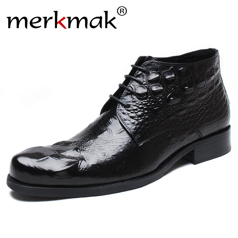 Merkmak Autumn Winter Fashion New Crocodile Men's Shoes Casual High-top  Pointed British Men's Leather Shoes Men's Safety Boots