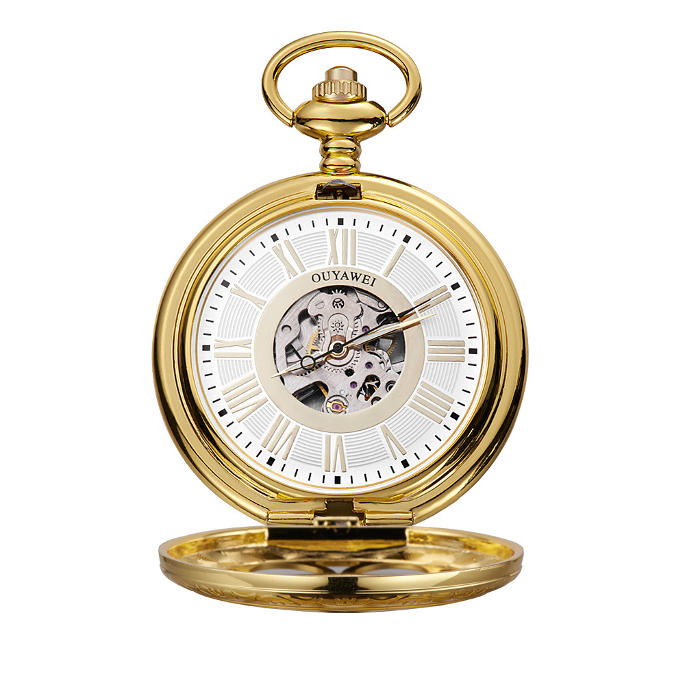 New Men's Watch Hollow Skeleton Hand Wind Mechanical Golden Pocket Watch Analog With Chain Xmas Gift For Men OYW-P08