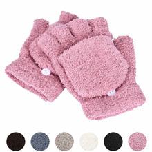 Semi Finger Flip Gloves Girls Mittens Ladies Thick Plush Hand Wrist Warmer Gloves Women Winter  Soft Stretch Mitten Handschoenen on AliExpress
