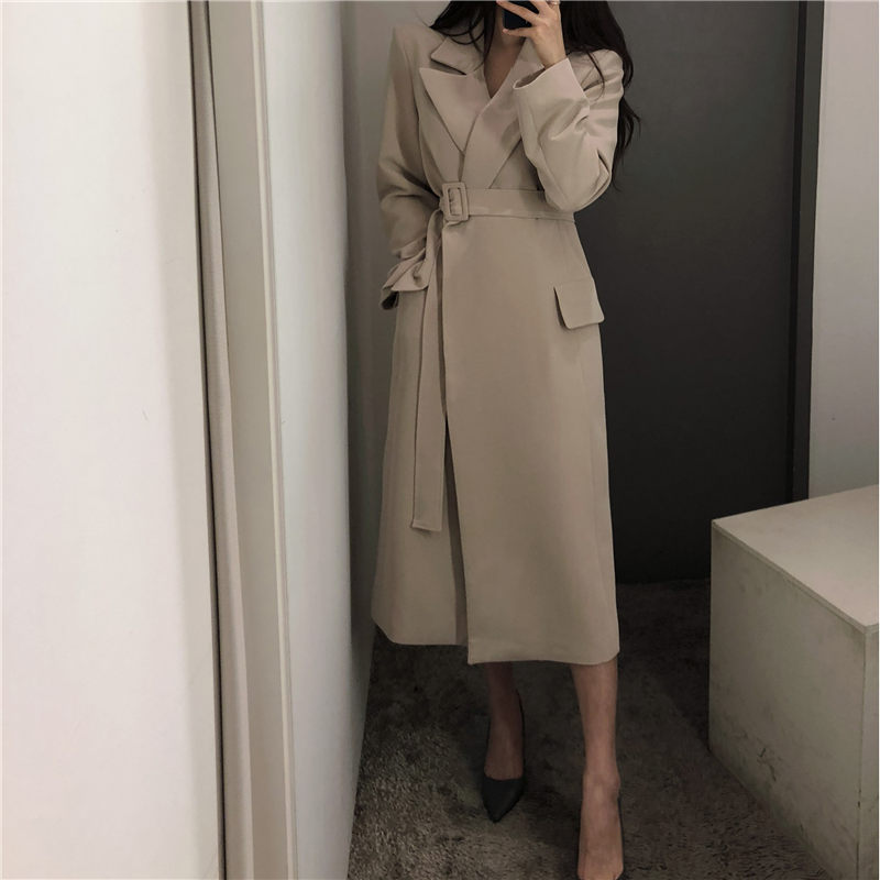 Hzirip High Quality Elegant Casual Sash Gentle Waist-Controlled All-Match Windbreaker Office Lady Fashion   Trench   Loose Overcoat