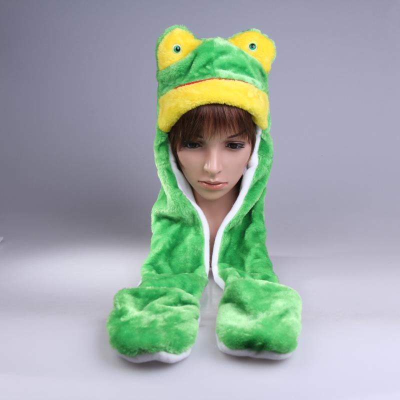 Kids Frog Hats With Ears Plush Warm Cap Long Hat Earmuff Scarf Gloves Adult Cute Cartoon Animal Hat + Scarf + Gloves All In 1