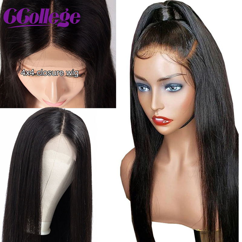 Ccollege Wigs Closure Short Human-Hair Bob Lace-Front Straight Brazilian Black 4x4