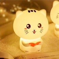 Cat Pat gui jiao deng Colorful Remote Control Recording Cute Children Lamp Creative Cute Pet Cartoon Adorable Cat Small Night La
