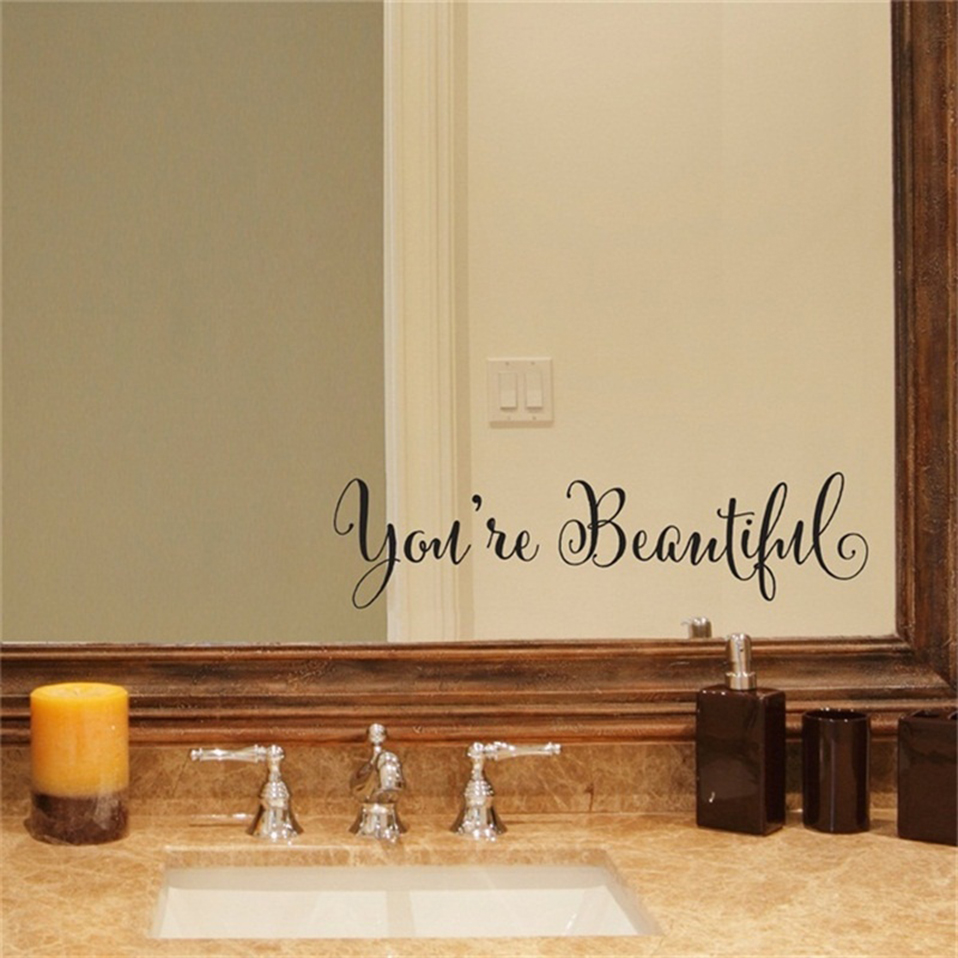 1 Set Wall Stickers With You're Beautiful Letters Living Room Carving Wall Decal Sticker Mirror Decor Home Window Decoration