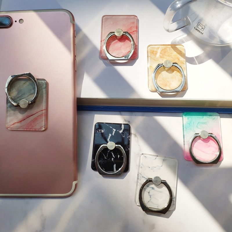 Phone Ring Buckle Marble Grain Crystal  Expanding Stand And Grip  Bracket Paste 360 Degree Rotation Lazy Ring Metal Buckle