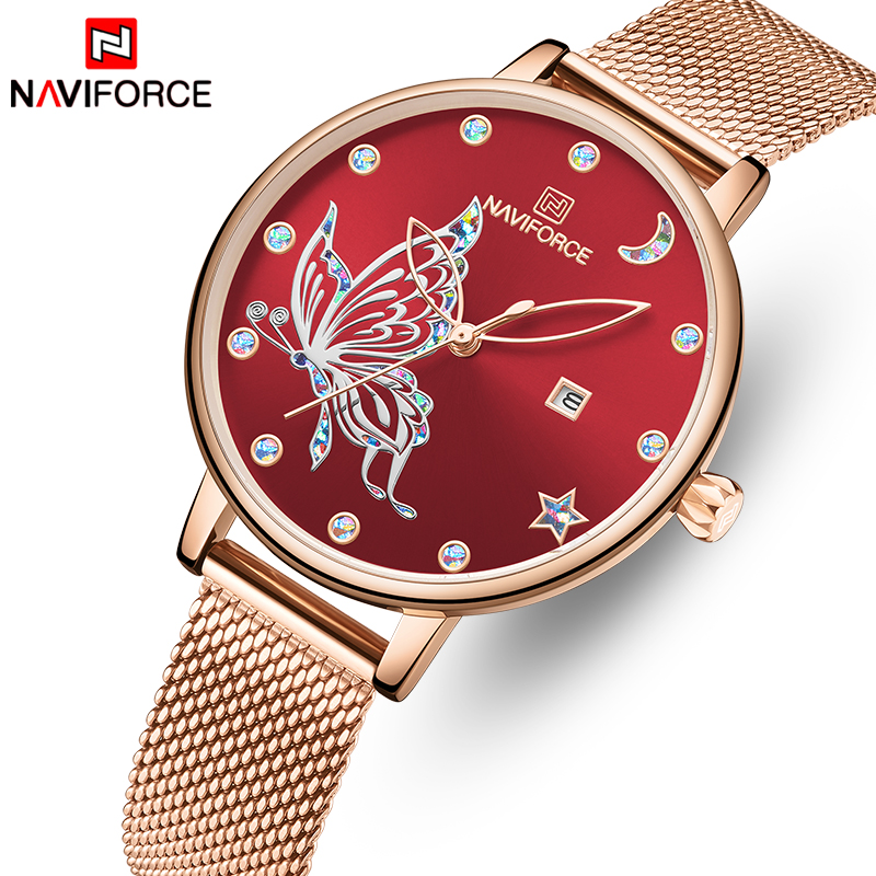 NAVIFORCE Rose Gold Watch Women Top Brand Stainless Steel Mesh Ladies Watches Womens Fashion Quartz Dress Clock Relogio Feminino
