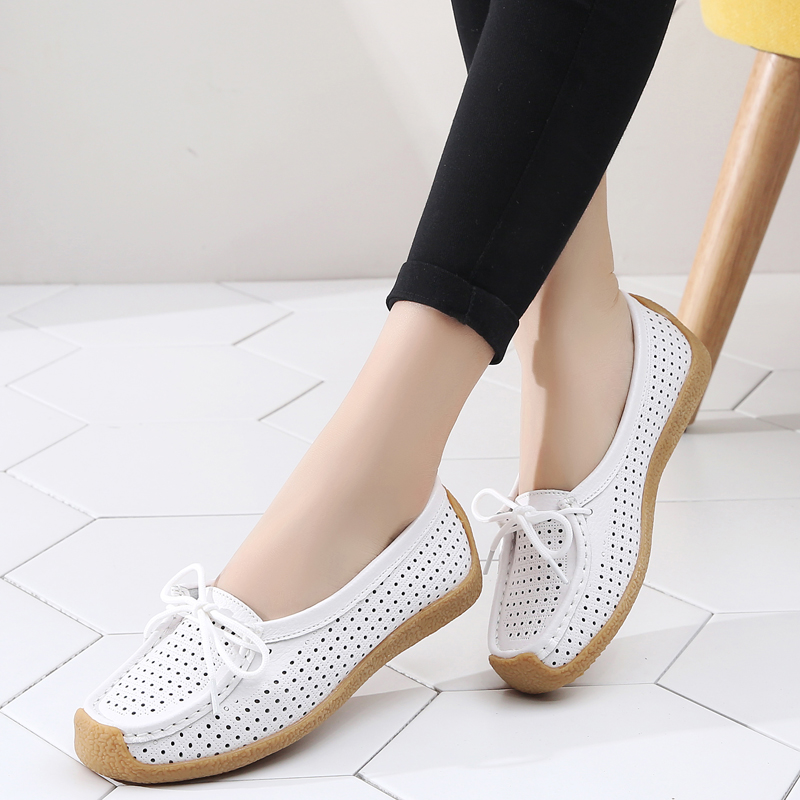 Women Shoes Genuine Leather Flat Loafer Ladies Slip Up Sewing Ladies Shoes Female Shallow Casual Moccasins Woman Shoes Plus Size