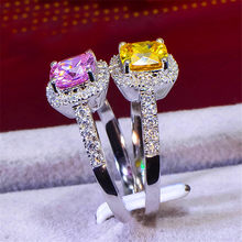 Luxury Female Pink Yellow Zircon Stone Ring Boho 925 Sterling Silver Wedding Band Ring Promise Love Engagement Rings For Women(China)