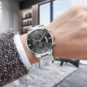 Image 4 - Dom Nieuwe Mode Heren Horloges Topmerk Luxe Grote Wijzerplaat Militaire Quartz Horloge Staal Waterdichte Sport Chronograaf Heren M 1313