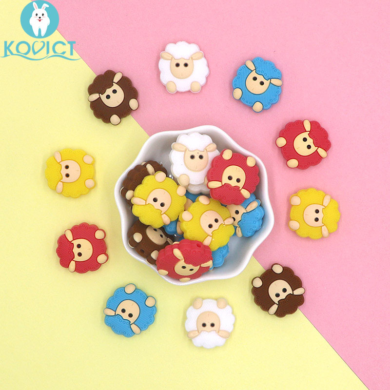 Kovict 5/10 Pcs 23mm Cute Mini Sheep Silicone Beads Animal Baby Teether Infant Teething Bead For DIY Necklace Accessories Toy
