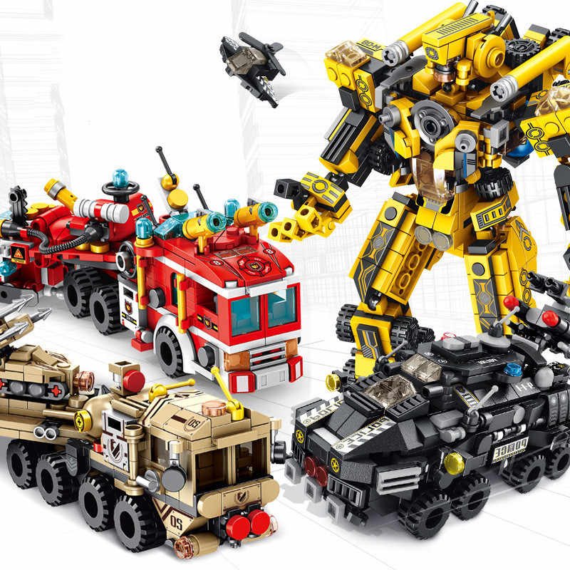 12 In 1 Transformation Robot Engineering Technic Assembled Model Building Blocks Educational Toys For Children Kit DIY Gifts