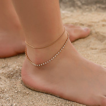 Hello Miss New personality anklet double crystal snake bone chain foot ring fashion ladies beach ankle jewelry gift