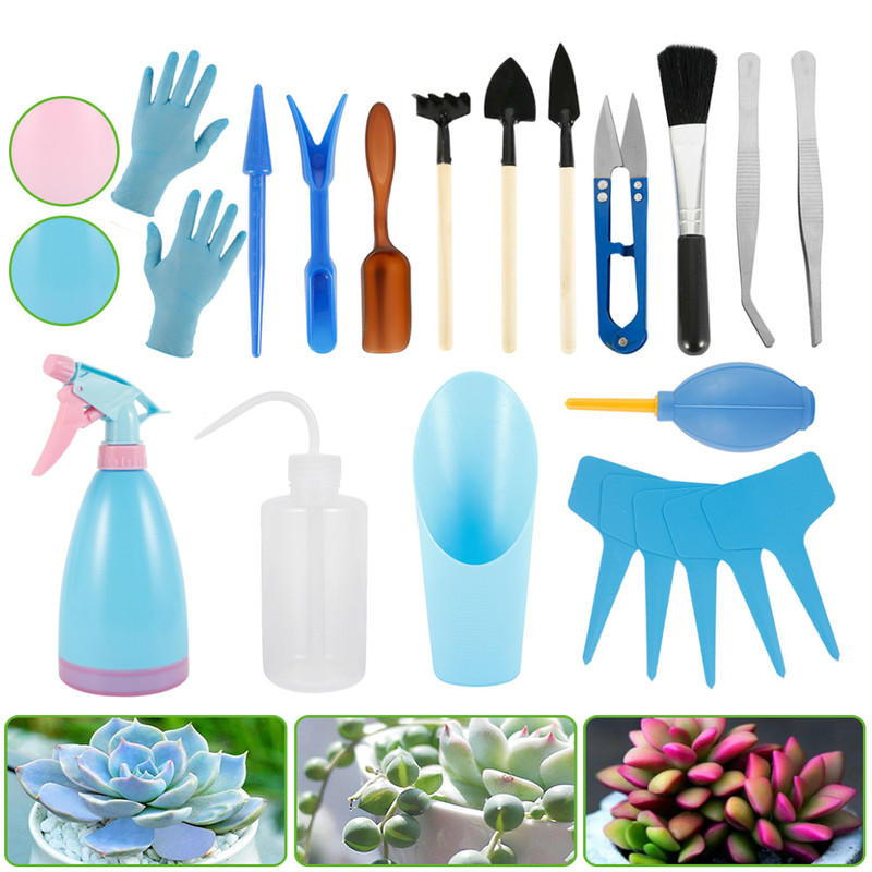 21pcs Succulent Transplanting Tools Spade Combination Of Flower Packaging Mini Gardening Supplies Hand Tool Kit