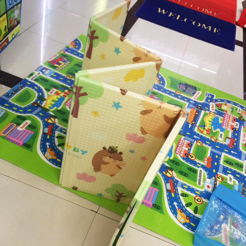 H5bcc8b7d7eda438d8db554560688666fp 200*150*0.5cm Reversible Baby Play Mat Double-Sided Crawling Mat Foldable Waterproof Portable Soft Floor Toddlers Infants Carpet