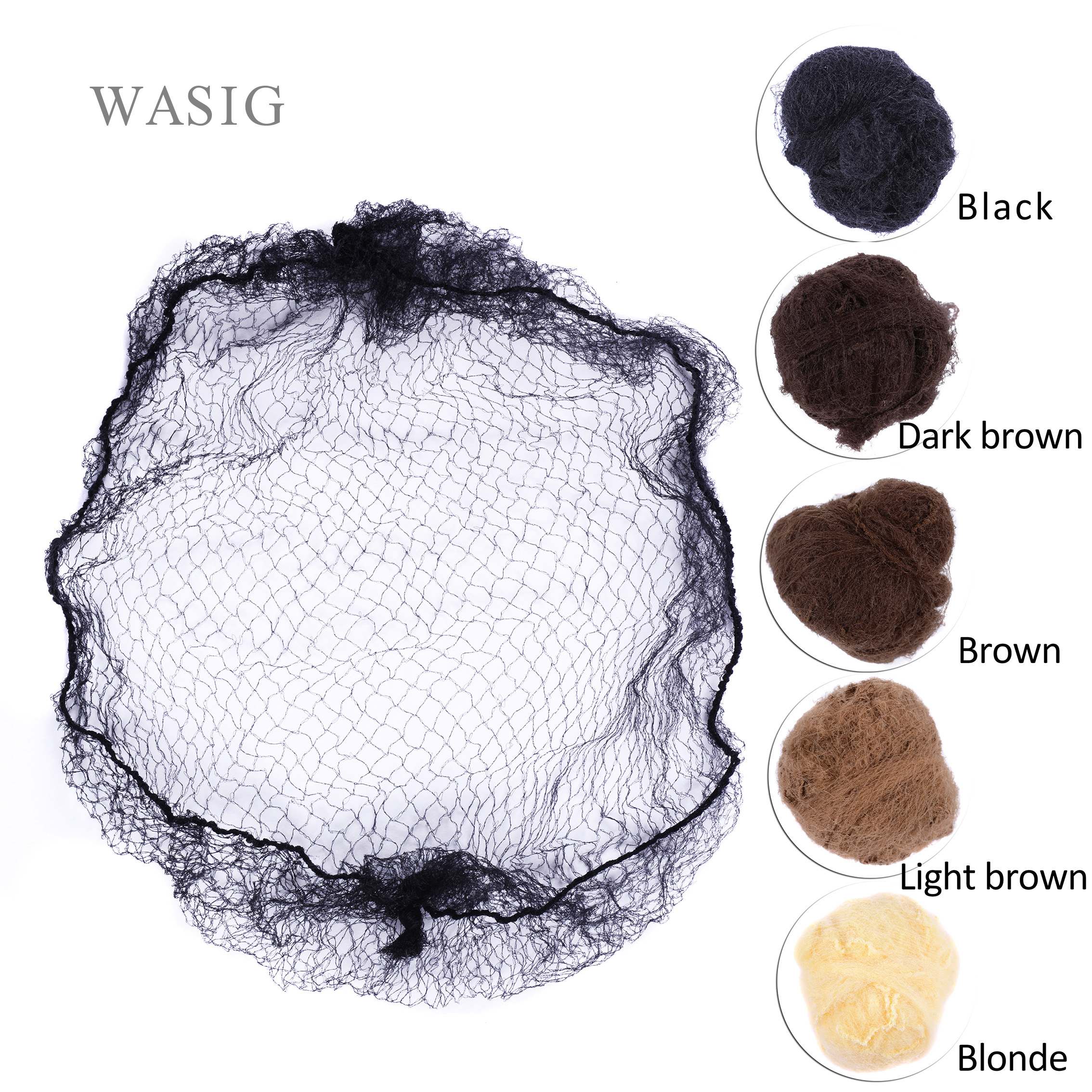 50pcs/20pcs Sample Order Five Colors Nylon Hairnets Black Brown Coffee Color Invisible Soft Elastic Lines Hair Net