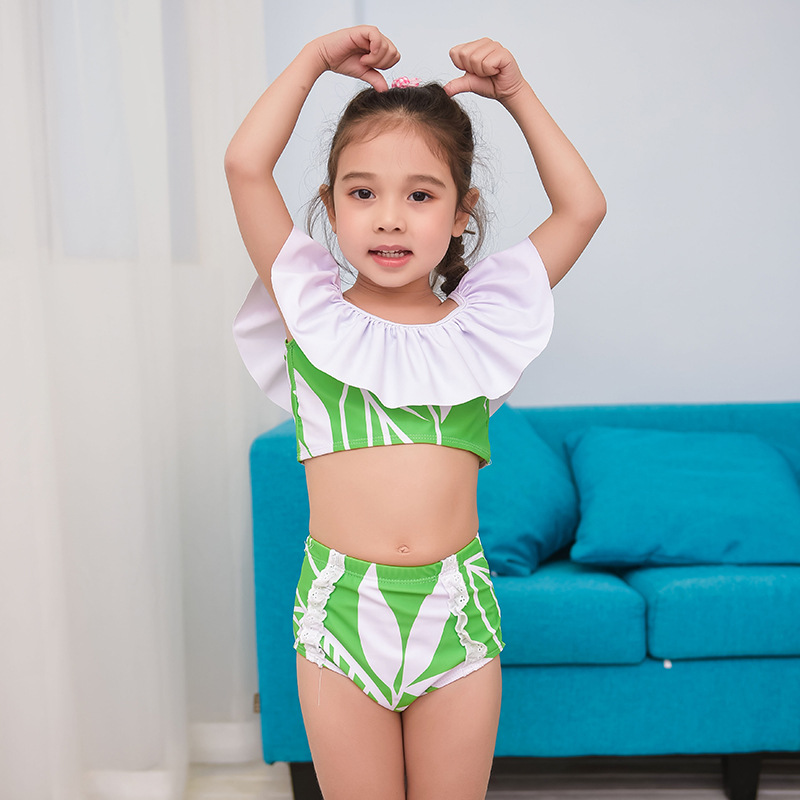 New Style KID'S Swimwear Girls Fashion Cute Leaf-green Baby Spa Resort Bikini Two-Piece Swimwear