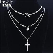 Collier avec pendentif en acier inoxydable pour femmes, 3 pièces, style Hip Hop, croix, couleur argent, ras de cou, bijoux, croix, chretienne, NXS03