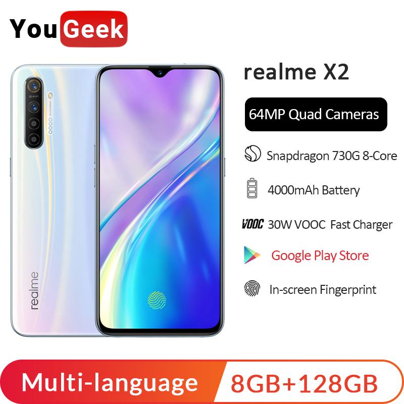 Realme X2 8GB 128GB 6.4 Inch Moblie Phone Snapdragon 730G 64MP Quad Camera Cellphone OPPO VOOC 30W Fast Charger