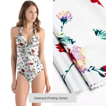 Digital printed swimsuit fabric ice silk yoga summer fabric polyester swimsuit stretch printed fabric fashion special fabric