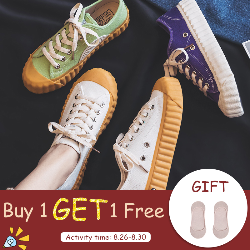 Canvas Shoes Woman 2019 Summer New Fashion Fashion Candy Color Women Casual Shoes Flats Canvas Women Casual Solid Shoes Sneakers
